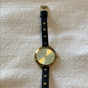 Michael Kors gold wrap watch with black leather